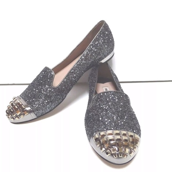 cb2d1f3d8afc9 Miu Miu Studded glitter leather Loafers 38.5 NEW